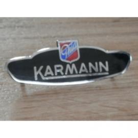 Karmann Ghia emaille logo voor op spatbord.