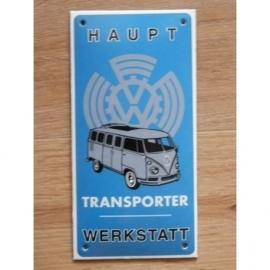 Emaille schildje met Haupt Werkstatt Transporter.