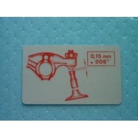 Sticker voor de klepspeling.