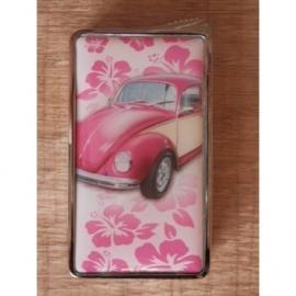 Aansteker met VW Kever, roze/wit.