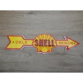 """Emaille schildje Shell """"Oele - Benzin"""" in pijlvorm."""