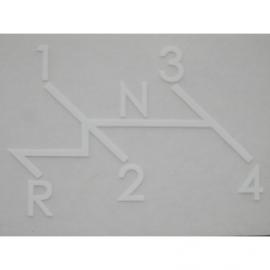 Sticker van schakelpatroon op asbak.